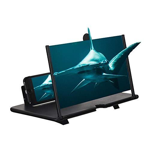 Perfuw 3D Handy Bildschirmlupe, 12 Zoll HD Smartphone Bildschirm Lupe mit klappbarem Ständerhalter, Augenschutz, Antireflex, Filmverstärker für alle Smartphones