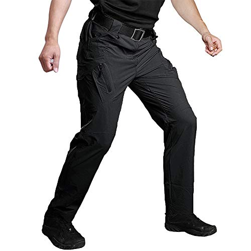 Susclude Men's Outdoor Work Quick Dry Military Tactical Pants Slim Fit Hiking Pants Mens Lightweight Cargo Pants Black 30