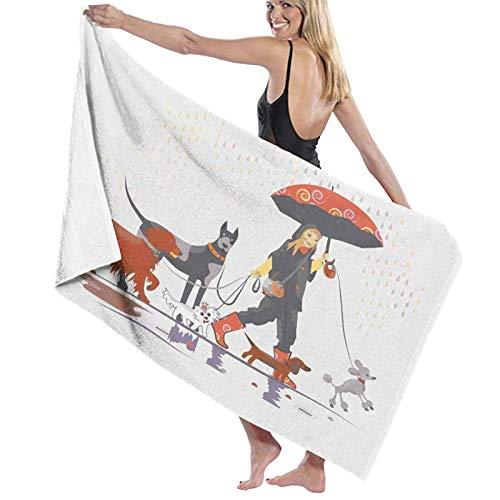 Grande Suave Toalla de Baño Manta,Joven Moderna llevando Paquete de Perro a Dar un Paseo bajo la Lluvia Diversión Joyful Times Artsy Print,Hoja de Baño Toalla de Playa Viaje Nadando,52' x 32'