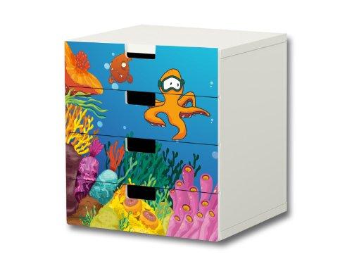 Bajo el agua pegatinas muebles | S4K03 | adecuado para la cómoda con 4 cajónes STUVA de IKEA | (mueble no incluido) STIKKIPIX