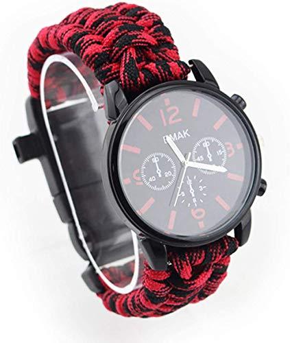 Outdoor Adventure Reloj multifunción, cuerda de siete núcleos, termómetro, silbato, brújula, impermeable y resistente a los golpes, color negro