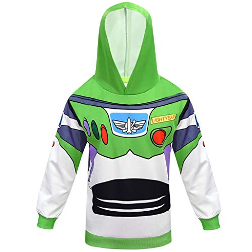 WQLESO Toy Story 4 Cosplay Buzz Lightyear Set Pullover Hosen Halloween-Kostüm,Green-110cm