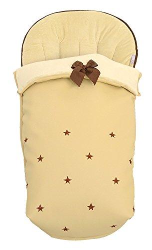 BORDAYMAS/ Winterfußsack für Kinderwagen, Aus wasserdichtem Sandem synthetischem Kunstleder, bestickt mit Sternen in braunem und extra - weichem Sand synthetischem Haar. Hergestellt in Spanien