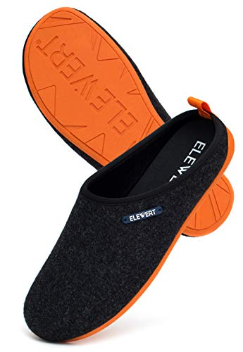 ELEWERT Hausschuhe für Herren/Damen - Natural - Pantoffeln/Slipperfür Drinnen und Draußen - herausnehmbares Fußbett, 41 EU, Schwarz Orange Ii