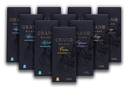100 Grano Milano Kaffeekapseln | Kompatibel mit Nespresso OriginalLine | Italienische maßgeschneiderte Mischungen | Fair Trade Kaffee | 100 Kapseln