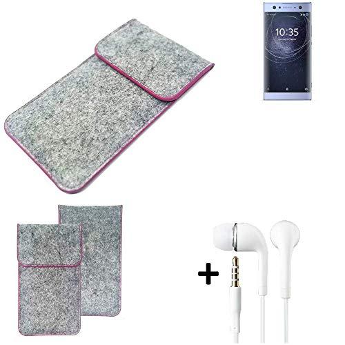 K-S-Trade Filz Schutz Hülle Für Sony Xperia XA2 Ultra Dual-SIM Schutzhülle Filztasche Pouch Tasche Hülle Sleeve Handyhülle Filzhülle Hellgrau Pinker Rand + Kopfhörer
