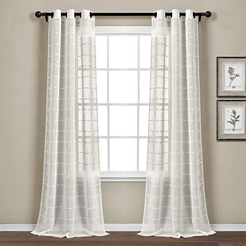 """Lush Decor White Farmhouse Textured Grommet Sheer Window Curtain Set (84"""" x 38"""")"""