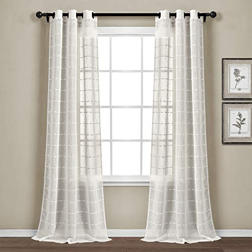 Lush Decor Farmhouse Textured Grommet Sheer Window Curtain Panel Pair, 95' Long x 38' Wide, White