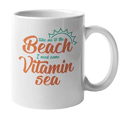 Tea Cup Ceramic Coffee Drink Mug Take Me to The Beach I Need Some Vitamin Sea Portable Travel Mouthwash Mugs Reusable Water Tea Cup 11OZ