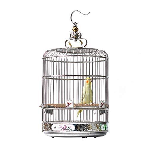Gabbia Voliera per Uccelli Gabbia per uccelli in acciaio inossidabile Gabbia da balneazione rotonda Artnamentale Gabbia per uccelli con motivo dipinto Altezza inferiore ad altezza maggiore Uccelli Gab