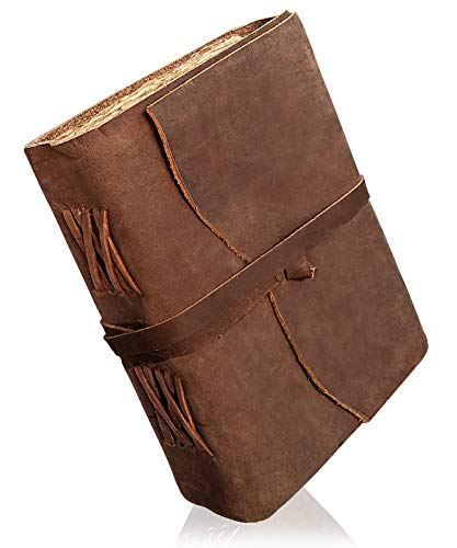 Diario de cuero encuadernado – hecho a mano de papel envejecido – Cuaderno de bocetos de cuero – Diario grueso – Diario vintage para hombres y mujeres