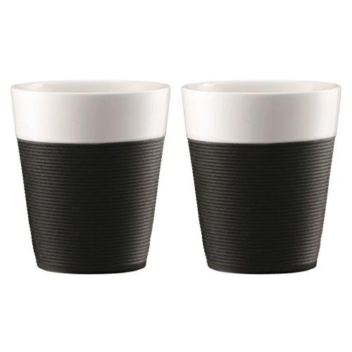 Bodum BISTRO 2-teiliges Tassenset mit Silikonband (Spülmaschinengeeignet, 0,3 liters) schwarz