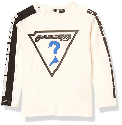 GUESS Boys' Little Long Sleeve Space Graphic Logo T-Shirt, Linen White, 6