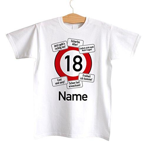 Cera & Toys® T-Shirt zum 18. Geburtstag mit Wunschnamen Motiv: Verkehrsschild 18 Größen: S - XXL, weiß L, Weiß
