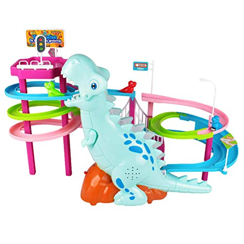 XIANLIAN 2021 Dinosaur Roller Coaster Park Toy,Dinosaur Colorful Slide Race Track Cartoon Toy Set With Dynamic Sound Effects, Automatic Climbing Stairs For Kids Ages 3+