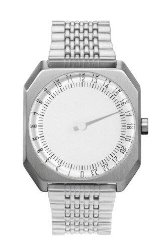 Slow Jo 01 - Reloj suizo unisex de 24 horas plateado, con correa metálica