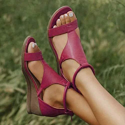 XXZ Frauen Keilabsatz Sandalen Sommer Offene Schuhe Faux Leder Orthopädische Casual Plattform Rom Damen Elegante Flip Flops Freizeit,Rot,39