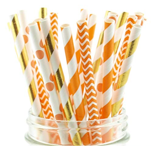 Thanksgiving Dinner Straws (25 Pack) - Fall Leaf Autumn Wedding Party Supplies, Orange & Brown Assorted Paper Straws for Thanksgiving Table Decor