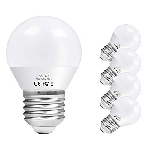 Vicloon E27 Bombilla LED G45, 6W equivalente a 40W, 550LM 3000K Blanco Cálido E27 Lámpara LED, No Regulable, Angulo de haz de 270°, AC 220-240V - Pack de 5 Unidades