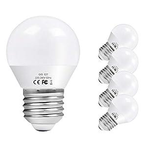 Vicloon E27 Bombilla LED G45, 6W equivalente a 60W, 600LM 6500K Blanco Frío E27 Lámpara LED, No Regulable, Angulo de haz de 270°, AC 220-240V - Pack de 5 Unidades