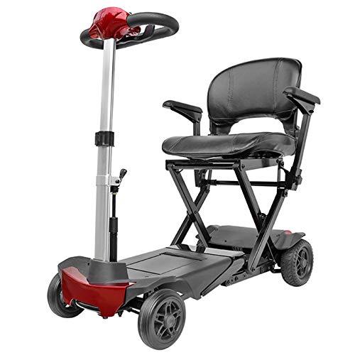 LIYIN Scooter de Movilidad eléctrico Plegable Remoto de 4 Ruedas para Ancianos y discapacitados, Scooters eléctricos compactos portátiles, soporta 125 kg de Peso, 6 km/h, 96,5 × 45 × 94 cm