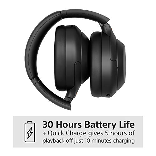 Sony WH-1000XM4 Noise Cancelling Wireless Headphones - 30 hours battery life - Over Ear style - Optimised for Alexa and the Google Assistant - with built-in mic for phone calls - Black