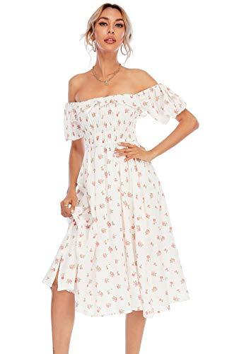 R.Vivimos Womens Summer Floral Print Puff Sleeves Vintage Ruffles Midi Dress (Medium, White)