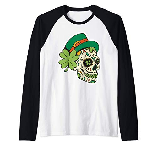 Traje irlands Sugar Skull Saint Patricks Day of Dead Camiseta Manga Raglan