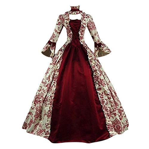 Damen Langarm Renaissance Mittelalter Kleid Piebo Gothic Viktorianischen Königin Kostüm U-Ausschnitt Mittelalterlichen Adels Palast Prinzessin Maxikleid Halloween Weihnachten Party Cosplay Dress