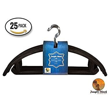 Jungle Shack Non-Slip Slim Velvet Hangers, Black (Pack of 25)