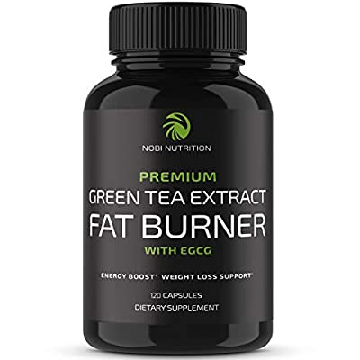 Nobi Nutrition Green Tea Fat Burner - Green Tea Extract Supplement with EGCG - Diet Pills, Appetite Suppressant, Metabolism & Thermogenesis Booster - Healthy Weight Loss for Women & Men - 120 Count