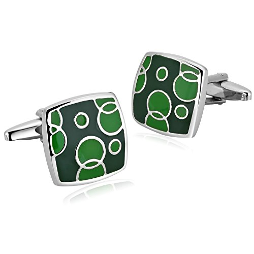 AYDOME Cufflinks Personalised, Stainless Steel Square for Dad Green