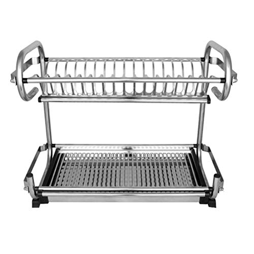 LBYMYB Estante de cocina doble de acero inoxidable para colgar en la pared, estante para platos o encimera, estante de drenaje para platos (tamaño: 49 cm)