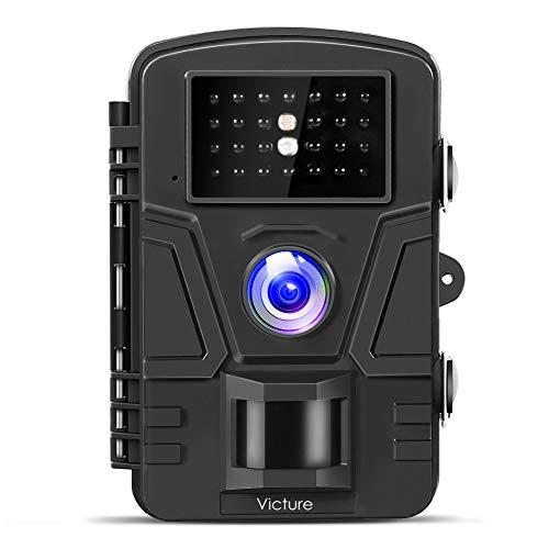 Victure トレイルカメラ 不可視赤外線 1200万画素 1080PフルHD 防犯カメラ 電池式 人感センサー 90度検知範囲 防水防塵 暗視カメラ 屋外駐車場適用 日本限定モデル ブラック