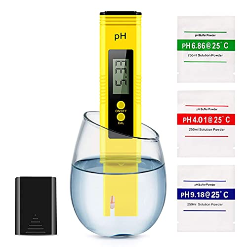 Alysontech Digital PH Meter, PH Meter 0.01 High-Precision Pocket Water Quality Tester, PH Range 0-14, Suitable for Accurate Testing of Drinking Water, Aquariums, Swimming Pools, Hydroponics (Yellow)