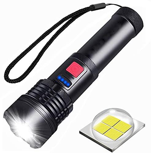 Linterna LED Recargable USB, Súper Brillante Táctica XHP50 Potente Linterna 3000 Lúmenes, 5 Modos con Zoom Impermeable Antorcha LED para Acampar, Senderismo, Actividades al Aire Libre