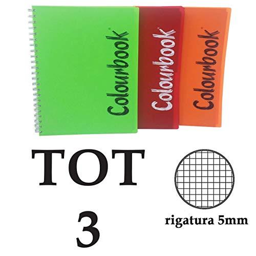 COLOURBOOK 3 MAXI QUADERNI A QUADRETTI SPIRALATI A4 5MM - TOTALE 450 FOGLI
