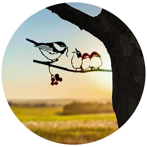 20cm Baumstecker Glücksvogel Buchfink,Vögel Metall Tier Silhouette Pfahl,Kunst Dekorative Garten Metalkunst,Gartendeko für den Baum,Gartenstecker Vögel im Baum Garten Dekoration