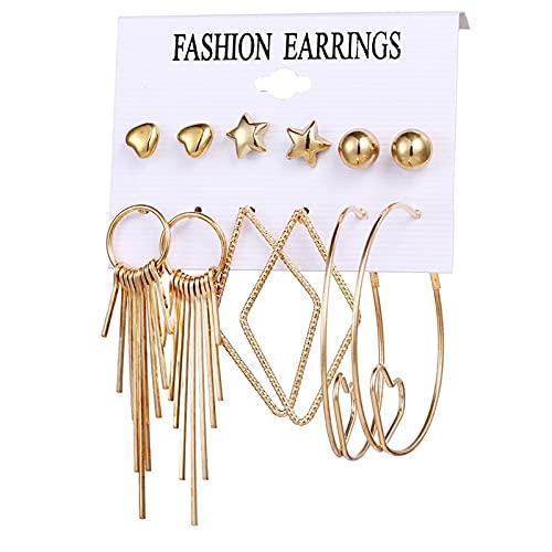 FEARRIN Conjunto de Pendientes para Mujer, Conjunto de Pendientes de aro de Perlas Redondas Circulares para Mujer, joyería de Pendientes de Brincos de Cristal acrílico Bohemio LNI00424