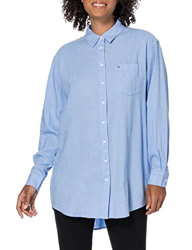 Tommy Jeans TJW Relaxed Long Shirt Camisa, Azul Moderado, M para Mujer