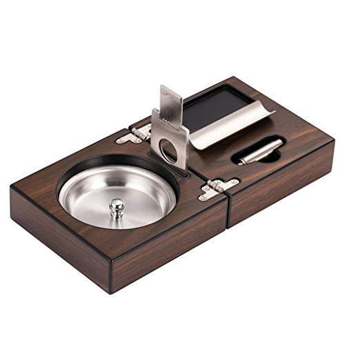Lidada Cenicero para cigarros de gama alta, cenicero portátil, plegable, para regalo, oficina, escritorio, cenicero para cigarros, cenicero de viaje (color: marrón, tamaño: 24 x 12 x 3,4 cm)