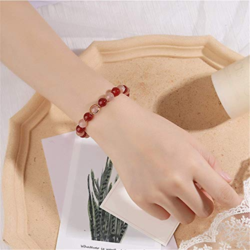 KEEBON Feng Shui Pulsera Natural Rojo ágata Naranja luz de Luna 14k Chapado en Oro Brazalete Buena Suerte Peluche Rico Amuleto Pulsera para Mujeres, 15~16 cm (Talla : 13~14cm)