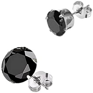 316L Surgical Steel Earrings Stud 3mm Round CZ Choose Your Color
