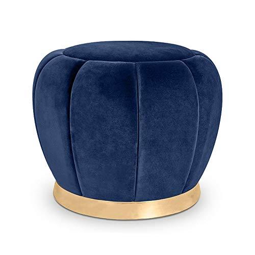 Repose-Pieds Style européen Tabouret De Canapé en Daim Dressing Tabouret De Ménage Tabouret Tabouret Salon Hauteur Hauteur 40 × Diamètre 38 cm GW (Couleur : Royal Blue)