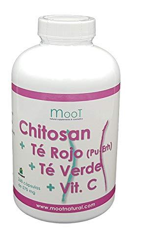 Moot Chitosan Reforzado con Té Rojo + Té Verde + Vitamina C| 260 Cápsulas de 570mg| Efecto Diurético| Potente quema grasas Estimula el Metabolismo| Para dietas de control de peso| Adelgaza rápidamente