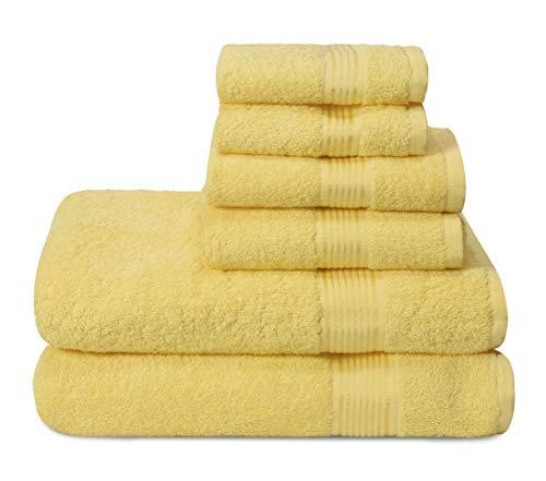 GLAMBURG Juego de 6 Toallas de algodón Ultra Suaves, Contiene 2 Toallas de baño de 70 x 140 cm, 2 Toallas de Mano de 40 x 60 cm y 2 paños de Lavado de 30 x 30 cm, Color Amarillo