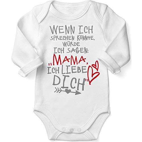 Mikalino Babybody mit Spruch für Jungen Mädchen Unisex Langarm Wenn ich sprechen könnte würde ich Sagen: Mama ich Liebe Dich | handbedruckt in Deutschland |, Farbe:Weiss, Grösse:68