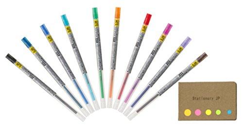 Uni-Ball Signo Gel Ink Refills for Uni Style Fit Gel Multi Pen 0.38mm 10 Color Ink, Sticky Notes Value Set