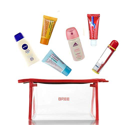 Reiseset BREE Ready-to-Fly Woman/Kulturtasche transparent 1L Volumen mit Körperpflegeprodukten bis100ml/ Reise Set/Handgepäck für Flugzeug/Kulturbeutel durchsichtig/Kosmetikbeutel zum Fliegen