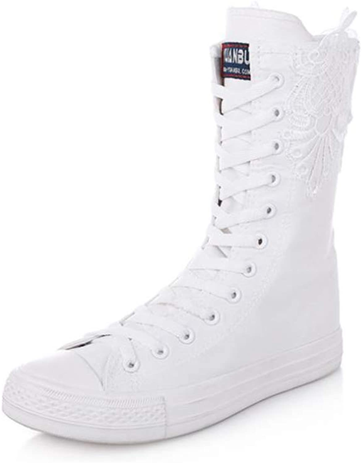 Fancyww Women's Floral Embroidered Dance Sneakers Punk Knee High Lace Up Canvas Boots